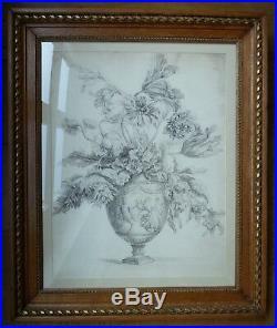 Grand Dessin Ancien De Fleurs Vers 1807 Dans Un Cadre Style