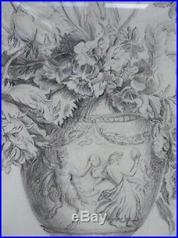 Grand dessin ancien de fleurs vers 1807 dans un cadre style Louis XVI