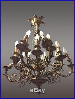 Grand lustre Napoléon III bronze doré style Louis XVI