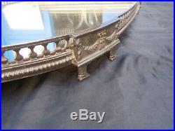 Grand plateau galerie centre de table metal argente style Louis XVI époque 19ème