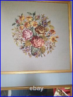 Grand trumeau style Louis XVI, haut de trumeau, tapisserie au petit point