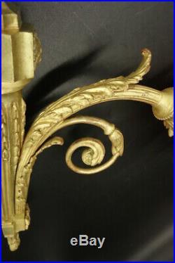 Grande Paire D'appliques, Style Louis Xvi, Début 1900 Bronze & Tulipe Ambre