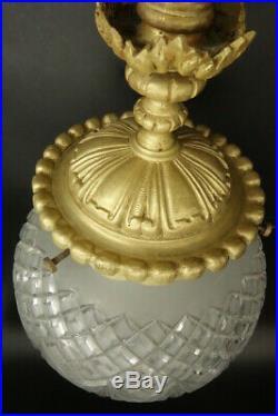 Grande Suspension / Plafonnier, Style Louis Xvi, Début 1900 Bronze & Verre