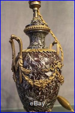 Grande lampe en marbre et bronze doré de style Louis 16