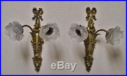 Grande paire d'appliques Fin XIXe 1900 bronze Style Louis XVI décor de roses