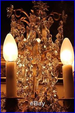 Grande paire de girandoles de style Louis XVI cristal et bronze doré XIX siècle