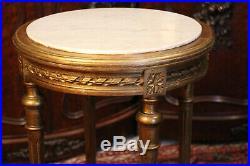 Guéridon 19e sellette piédestal bois doré plateau marbre blanc style Louis 16
