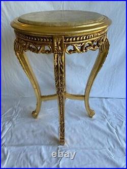 Gueridon De Style Louis XV Marbre Beige