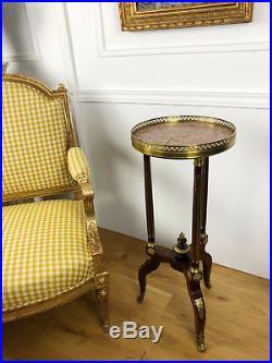 Guéridon Tripode D'époque Napoléon 3 En Bois Orné De Bronze De Style Louis XVI