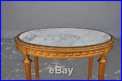 Guéridon bois doré style Louis XVI pieds cannelés dessus marbre époque 1900