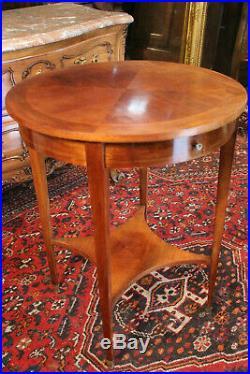 Guéridon circulaire acajou tablette d'entrejambe tiroir style Louis 16