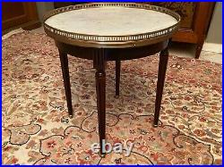 Guéridon circulaire table bouillotte en acajou plateau marbre style Louis XVI