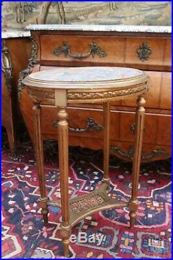 Guéridon de forme ovale table d'appoint style Louis 16 bois doré plateau marbre