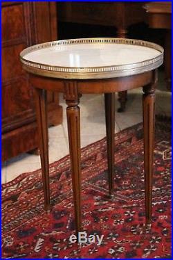 Guéridon merisier plateau de marbre blanc style Louis 16 type table bouillotte