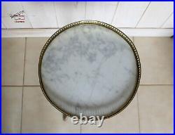 Guéridon, selette tripode plateau marbre galerie laiton ajouré style Louis XVI