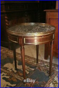 Guéridon table bouillotte acajou plateau marbre galerie laiton style Louis 16