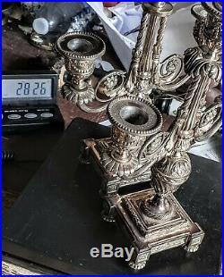 Halphen (alfenide) Jolis Paire De Bougeoirs Metal Argente Modele Style Louis XVI