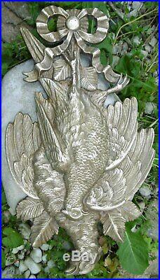Hunting Trophée Ornemental en Bronze Tableau de Chasse style Louis XVI