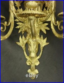 IMPOSANTE PAIRE D'APPLIQUES 3 FEUX, STYLE LOUIS XVI, DU XIXe BRONZE 40,8 cm