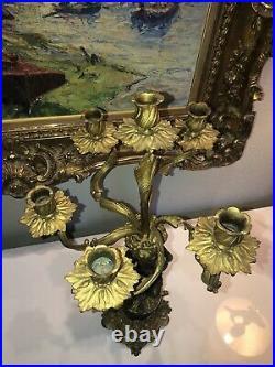 Important Candélabre en bronze À décor d'un Putto Style Louis XVI Haut. 64,5 cm