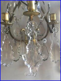 Importante Paire Applique A Pampilles Cristal Style Louis XVI Du XX Siecle
