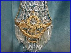 Importante Paire Appliques Montgolfière Bronze Cristal Style Louis XVI 55 cms