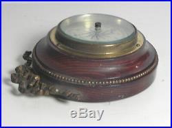Joli baromètre aneroide ancien Style Louis XVI noeud ruban perle laiton XIXe
