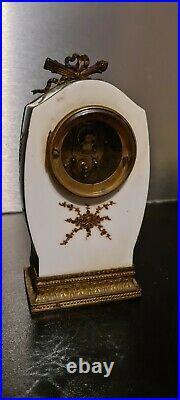 Jolie Petite Pendule Porcelaine Sevres Et Bronze 1900 Style Louis Xvi old clock