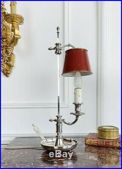 LAMPE BOUILLOTTE DU XIXe EN BRONZE ARGENTÉ ET TÔLE DE STYLE LOUIS XVI