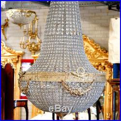 LUSTRE MONTGOLFIERE 150cm STYLE EMPIRE NAPOLEON LOUIS XVI EN BRONZE 8 FEUX