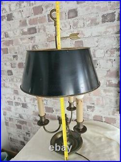 Lampe Bouillote 3 Lumiere En Bronze Abat Jour Tole Style Louis XVI Epoque XX Eme