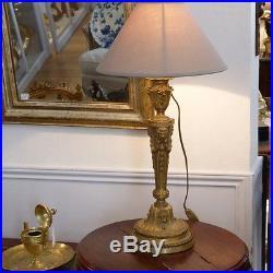 Lampe En Bronze Doré Signée Gagneau, Style Louis XVI Aux Lions, XIX ème