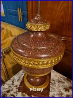 Lampe Style Louis XVI, Imitation Porphyre Et Bronze Doré
