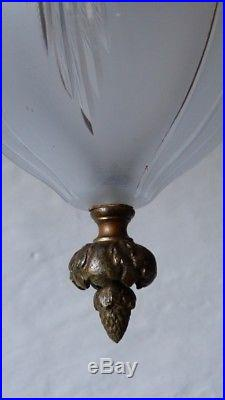 Lanterne, Lustre De Couloir Style Louis XVI, Bronze Et Cristal Taillé, XIX ème