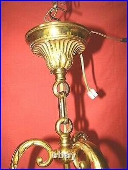 Lanterne de vestibule bronze et verre à 3 lampes style Louis XVI ép. Années 60