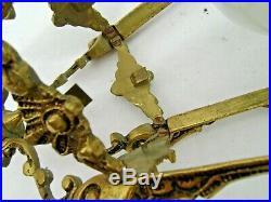Lanterne, suspension en bronze doré de style Louis XVI 5 faces verres gravés