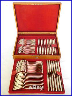 Laparra ménagère de 84 pièces, style Louis XVI, ARGENT MASSIF MINERVE et nacre
