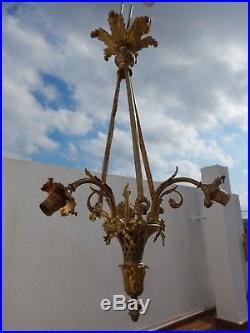 Lustre 1900 fin XIXème Art nouveau panier de style Louis XVI bronze 3 tulipes