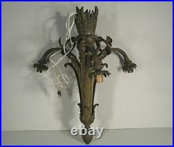 Lustre Ancien Bronze Style Louis XVI Trois Bras De Lumière Fut Forme Carquois