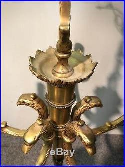 Lustre Bronze 5 Branches, Style Louis XVI, Têtes Daigle, Fut Carquois
