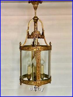 Lustre / Lanterne 4 feux style Louis XVI en bronze guirlande de fleurs