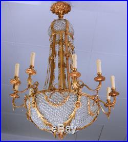 Lustre Montgolfiere En Cristal Bronze Style Louis XVI Empire Napoleon 16 Feux