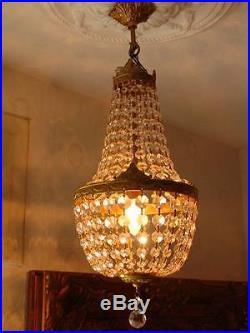 Lustre Montgolfiere En Cristal Corbeille Style Empire Napoleon Louis XVI