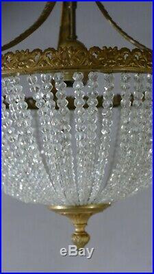 Lustre Sac De Perle Style Louis XVI En Laiton Et Verre, Début XX ème