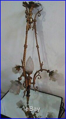 Lustre Xixème. Napoléon Iii. Bronze Doré De Style Louis XVI Aux Rubans. 4 Lumières