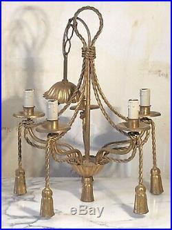 Lustre à ponpons 5 lumières style Louis XVI bronze et laiton