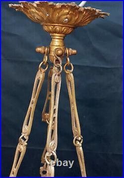 Lustre à quatre lumières & bronze vasque en albâtre styles Louis XVI époque 1900