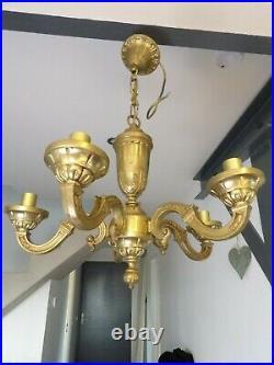 Lustre ancien 5 feux style Louis XVI Bronze massif