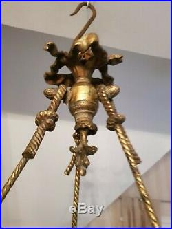Lustre ancien de style Louis XVI en bronze double patine époque début XX ème s