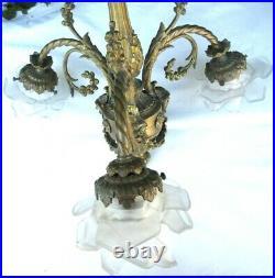 Lustre bronze Napoléon III 3 feux + 3 Roses, guirlandes, style Louis XV et XVI